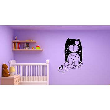 Wall Decal Cat And Mouse Funny Picture Pet Vinyl Sticker (ed1930)