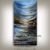 Blue Abstract Landscape Painting, Large Wall Art, Brown Abstract Art, Original Artwork on Canvas, Acrylic Painting, Abstract Wall Art