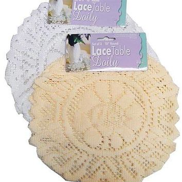 Round Lace Table Doily Set ( Case of 24 )