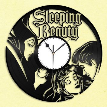Sleeping Beauty Princess Clock, Vinyl Record Wall Art, Personalized Gift, Silent Clock, Unique Home Decor, Kids Room Clock, Wall Decoration