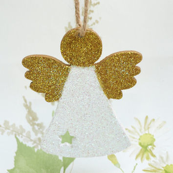Christmas Angel, Christmas Fairy, Wooden Decoration, Holiday Tree Ornament, Glitter Fairy, Guardian Angel, Fairy Hanging Decoration, White