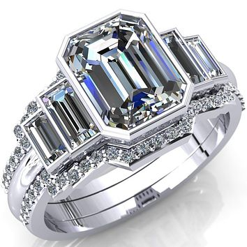 Lois Emerald Moissanite Baguette Accent 5 Stone Ring