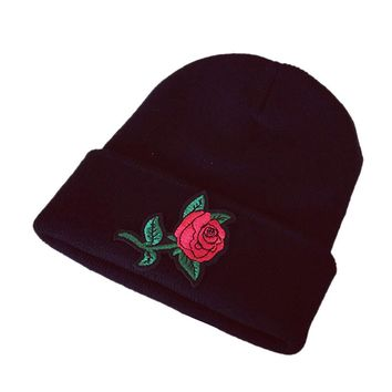 2017 New Arrival Women Winter Keep Warm Rose Embroidery Applique Crochet Ski Hat Braided Caps Men Beanies Girl Caps