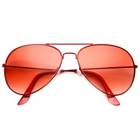 Colorful Retro Summer Tear Drop Metal Aviator Sunglasses 9732