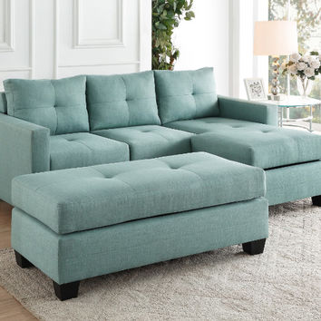 Home Elegance HE-9789TL-3LC 2 pc phelps teal textured fabric reversible sectional sofa set