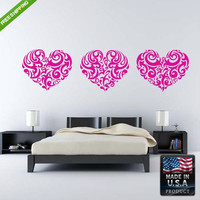 Wall Decal Mural Sticker Beautyfull Hearts Tribal Beautifull Bedroom (z143)