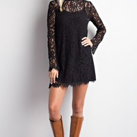 Long Sleeve Lace Dress - Black