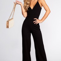 Lace Me Be Jumpsuit - Black