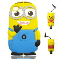 IZUGA® 3D Despicable Me Soft Silicone Case Cover with 3D Anti-plus Minnie Pen for iPhone 4 (4G - Double Eyes - Sky Blue)