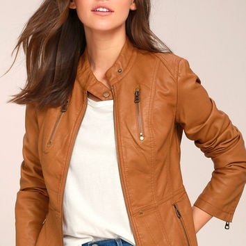 Peace of Mind Tan Vegan Leather Moto Jacket