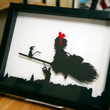 Kiki's Delivery Service Studio Ghibli hand cut paper craft shadow cut
