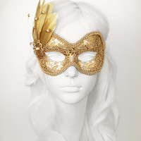 Pure Gold Lace Masquerade Mask - Metallic Gold Venetian Mask With Feathers - For Masquerade Ball, Prom, Costume Party, Wedding