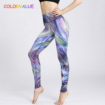 DCCKFS2 Colorvalue 3D Gradient Series Yoga Leggings Women Beautiful Printed Fitness Sport Leggings High Waist Dance Running Tights