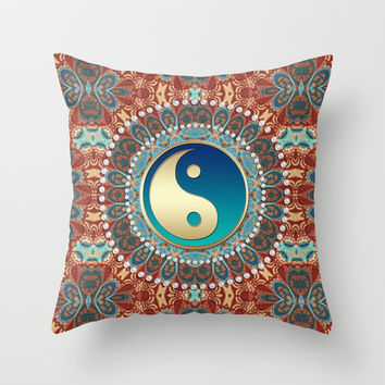 Bohemian Batik Yin Yang Throw Pillow by Webgrrl