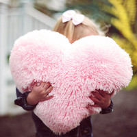 Fluffy Pink Heart Shaped Decorative Pillow Classic Size