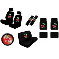 15 Piece Auto Interior Gift Set - Cherry - 2 Front Seat Covers (2 Front and 2 Bottom), 2 Headrest Covers, 2 Seat Belt Shoulder Pads, 1 Steering Wheel Cover, 1 Bench Seat Cover (1 Top and 1 Bottom), 4 Floor Mats (2 Front and 2 Rear)