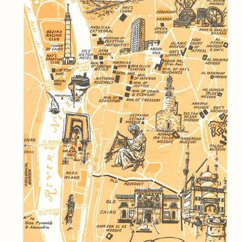 Cairo Map Art / City Map of Cairo Egypt / Vintage Map Print / 1970 City of Cairo Map Illustration / World Travel Decor / Travel Map Decor