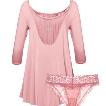 Custom Name Embroidery Tent Dress & Panty 2-Pack Set in Rose Quartz