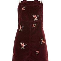 MOTO Velvet Embroidered Pinafore Dress