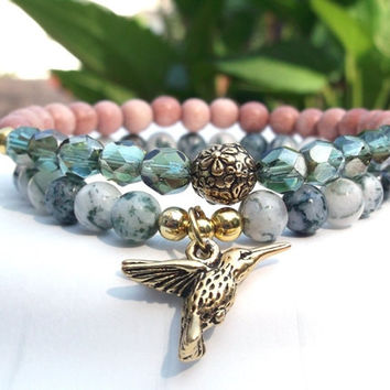 Hummingbird Bracelet with Rosewood and Tree Agate
