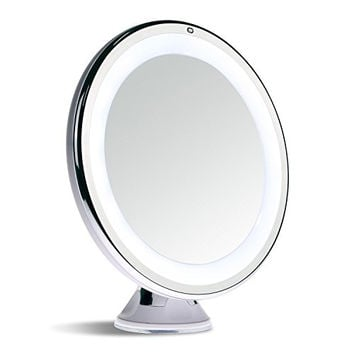 Sanheshun 5X Magnifying Lighted Travel Makeup Mirror,Touch Activated, Locking Suction Mount, Battery Operated, Round