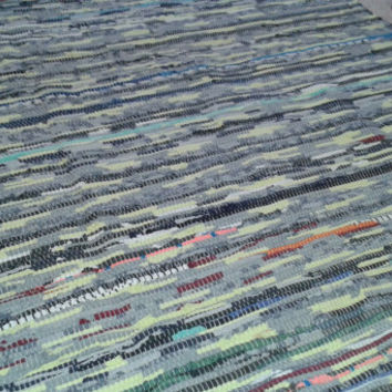 Large Rag Rug  / Hand Woven Multi Color Tasseled Scrap Area Rug / Boho Hippie Floor Mat / In Stock and Ready to Ship / Vegan