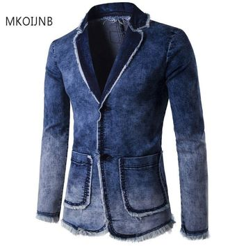 2018 brand Men Blazer Casual Cotton Vintage mens jacket Coat denim blazer men Fitness Fashion Jeans Blazers Mens Clothes hot