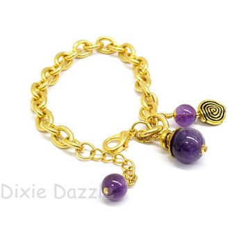 Amethyst gemstone bracelet, gold charm bracelet, purple jewelry, February birthstone, amethyst and gold chain bracelet, amethyst jewelry