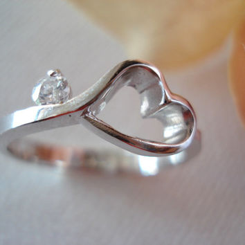 Engrave...Sterling silver open heart, CZ infinity ring, engrave any message, handmade jewelry, simple everyday, bridesmaid, best friend gift