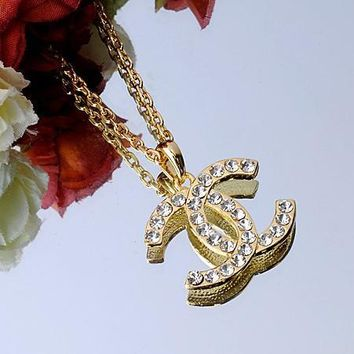 Chanel Woman Fashion Logo Diamonds Chain Necklace