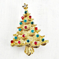 Vintage Christmas Tree Brooch Pin, Rhinestone Christmas Brooch, Gold Christmas Tree Brooch, 1960s Holiday Jewelry, Gift for Mom Grandma
