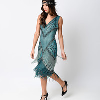 Iconic by UV 1920s Style Teal Beaded Remarque Fringe Chiffon Flapper Dress
