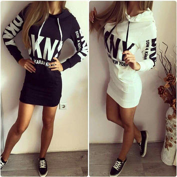 Letter Print Long-Sleeve Hoodie Dress Shirt