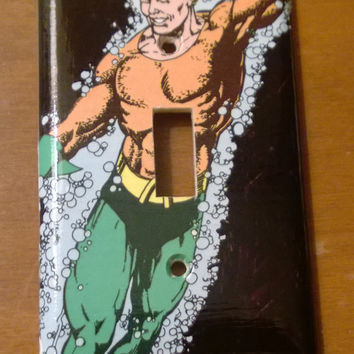 Aquaman comic book light switch cover
