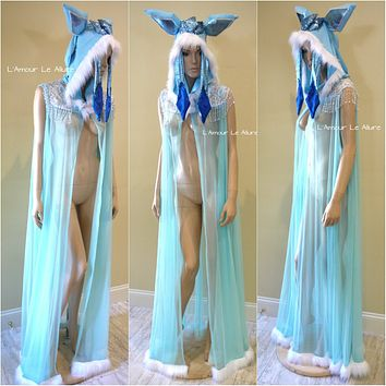 Glaceon Pokemon Ear Cape Robe Cosplay Dance Costume Rave Bra Rave Wear Halloween Burlesque Show Girl