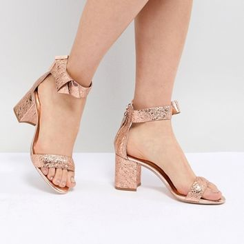 Ted Baker Kerrias Rose Gold Leather Block Heeled Sandal at asos.com