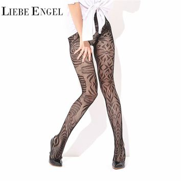 LIEBE ENGEL 2017 Sexy Fishnet Pantyhose Black Lace Floral Female Tights Summer High Waist Mesh Stockings