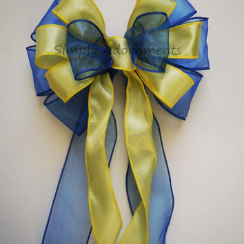 Royal Blue Yellow Wedding Decoration Bow Shower Party Decor Bow Cobalt Blue Yellow Pew Bow Wedding Chair Bow Gifts Bow