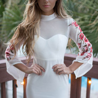 Hightower Ivory Dress with embroidered flower sleeves