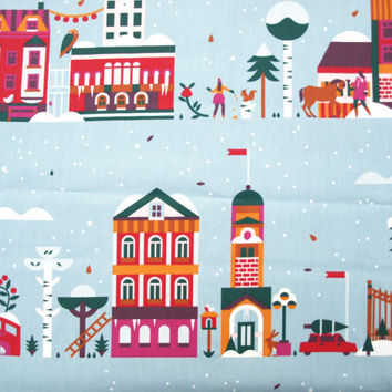 Christmas Tablecloth blue red orange green Snow Town Modern Scandinavian Design ,also napkins , runners , curtains available, great GIFT