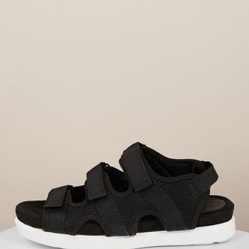 Triple Velcro Band Open Toe Chunky Sole Sandals