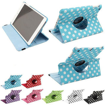 Newest Ultra Slim 360 Rotation Polka Dot  Smart PU Leather Case Cover for Apple iPad Mini 2 with Retina Display Mini 3