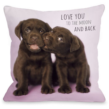"""""""Love You To The Moon And Back"""" Indoor Throw Pillow by Rachael Hale, 16""""x16"""""""