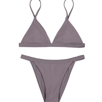 Fashion 5 color simple small straps two piece bikini pure color GRAY