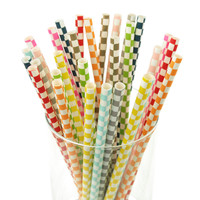 Race Car Checkered Paper Straws, 7-3/4-inch, 25-pack
