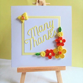Thank you card, thanks card, many thanks card, quilled card, greeting card, handmade card, blank card, floral thank you, appreciation card