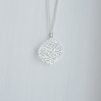 Silver coral necklace - sterling silver coral pendant - reef under the sea beach ocean summer - delicate intricate - simple jewelry - scuba