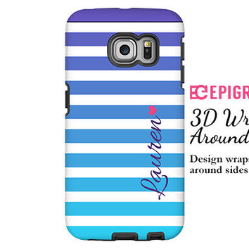 Samsung Galaxy S6 Edge case, personalized Galaxy S6 case, purple and aqua stripes Galaxy S5 case, Galaxy S4 case, 3D wrap around Galaxy case