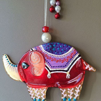 Handmade MAGNIFICENT ELEPHANT glass fusing techniques gift lovers newborn mothers sister family amulet talisman