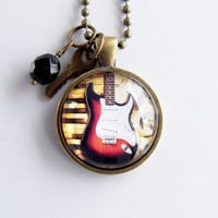 Electric Guitar Necklace - Guitar Pendant - Musical Instrument Jewelry - Rock Band Jewelry - Music Lover Gift - Music Teacher Gift